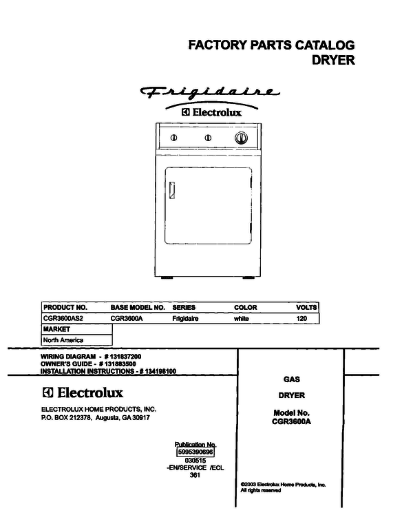 Frigidaire CGR3600AS2