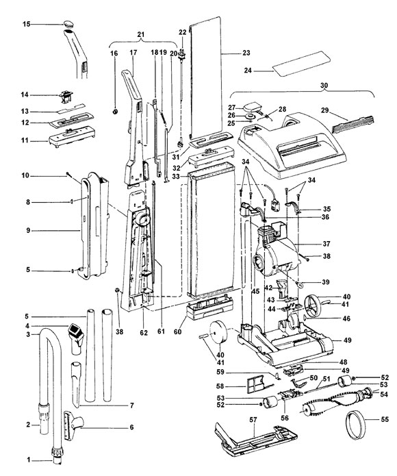Main assembly schematic for Hoover Model U4563, U4563910, and U4563-910