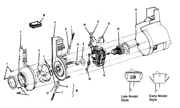 Motor assembly schematic for Hoover Model U4563, U4563910, and U4563-910