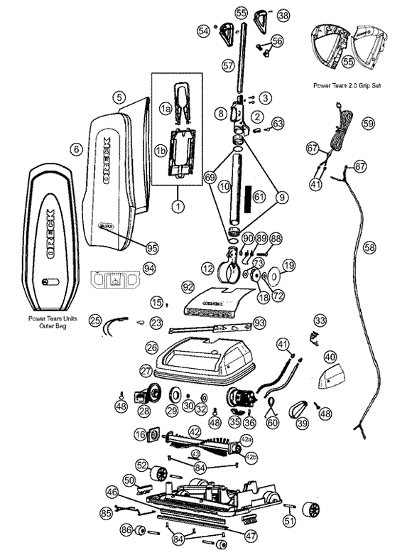 Main assembly schematic for Oreck Upright U4190H2