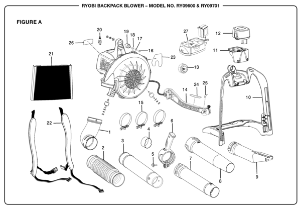 Ryobi Ry09600 Backpack Blower Parts And Accessories