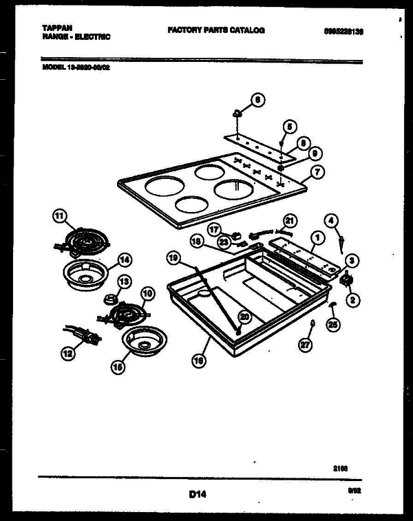 Tappan 13 2620 00 02 Electric Range 5995228136 Parts And