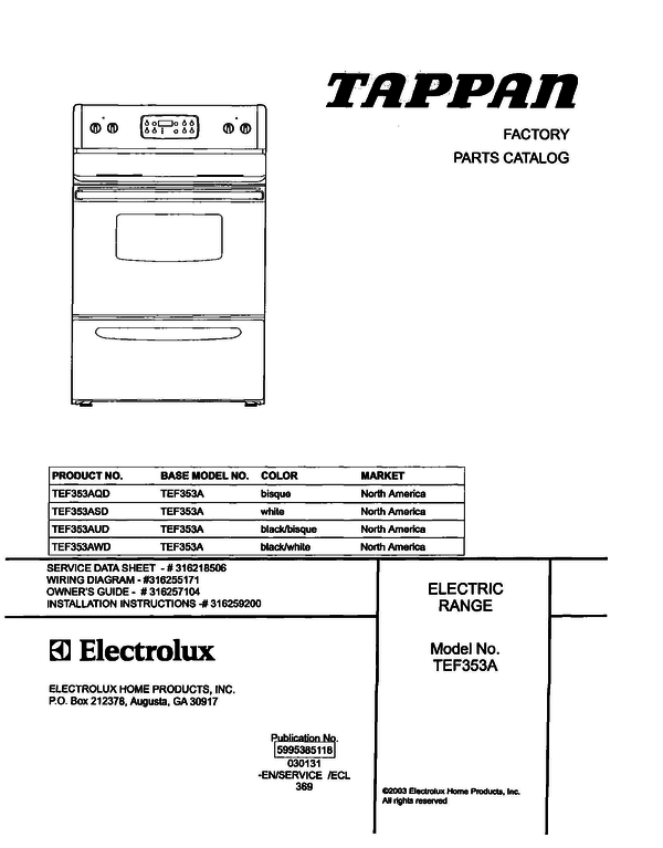 Tappan Tef353asd Electric Range Parts And Accessories At