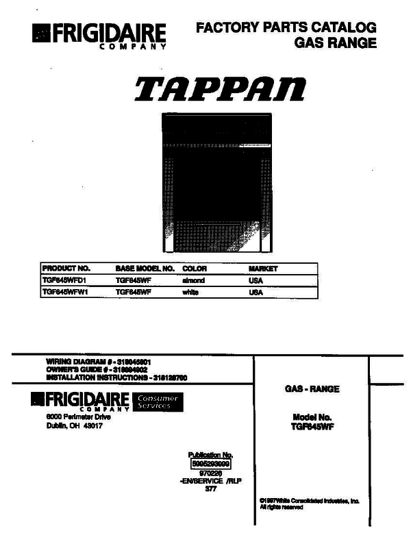 Tappan Tgf645wfw1 Gas Range Parts And Accessories At