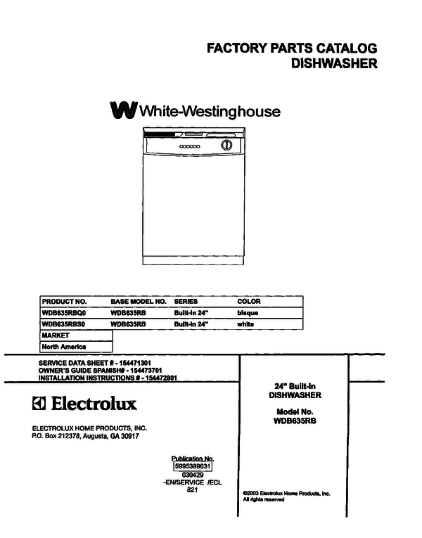 White-Westinghouse WDB635RBS0
