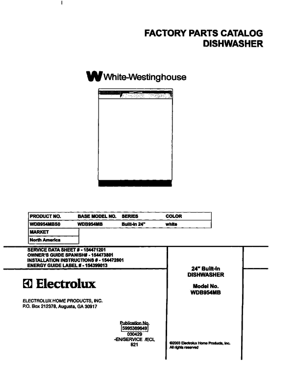 White-Westinghouse WDB954MBS0