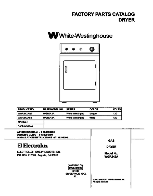 White-Westinghouse WGR242AS2