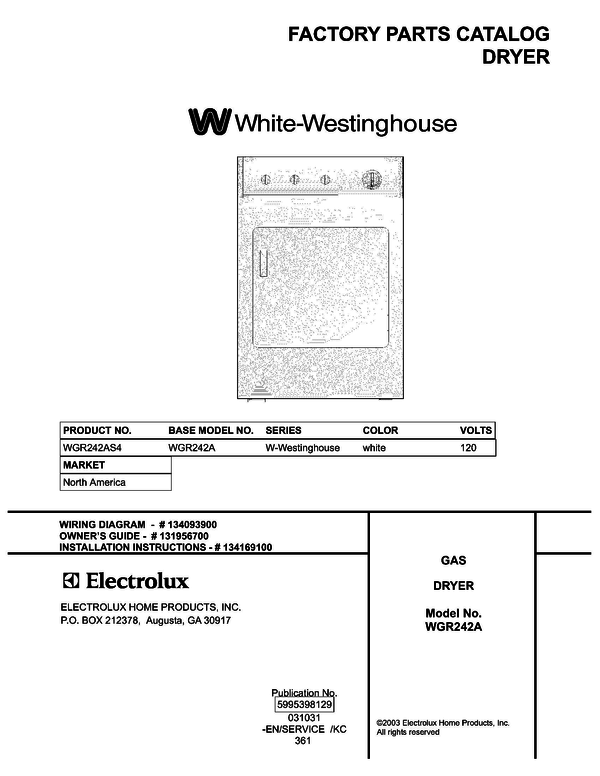 White-Westinghouse WGR242AS4