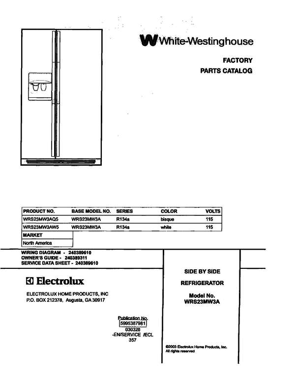 Wiring Diagram Westinghouse Fridge : White westinghouse wrs mw aw refrigerator parts and