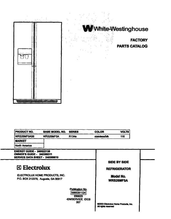 White-Westinghouse WRS26MF5AS6
