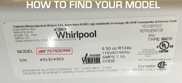 How to find your Whirlpool model number. It's located on the back or bottom of your machine.