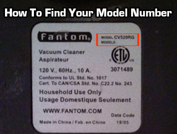 How to find your fantom model number. It's located on the back or bottom of your vacuum or steam cleaner.