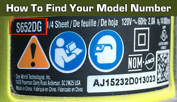 How to find your ryobi model number. It's located on the back or bottom of your vacuum or steam cleaner.