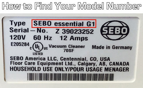 How to find your sebo model number. It's located on the back or bottom of your vacuum or steam cleaner.