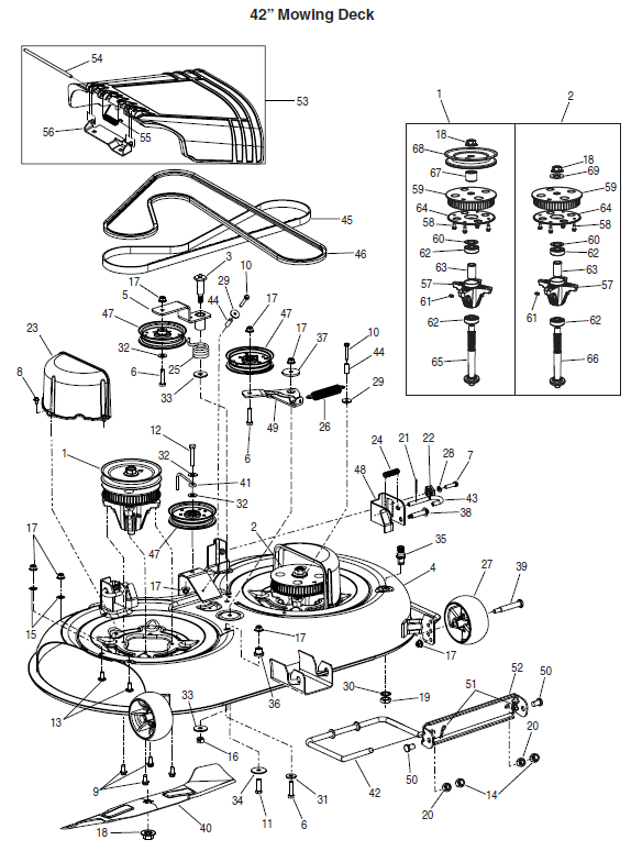 spindle assembly - drive mtd-918-04512 2  spindle assembly - driven mtd-618-04516  3  bolt assembly, shoulder mtd-638-04012a 4  deck assembly mtd-983-04379