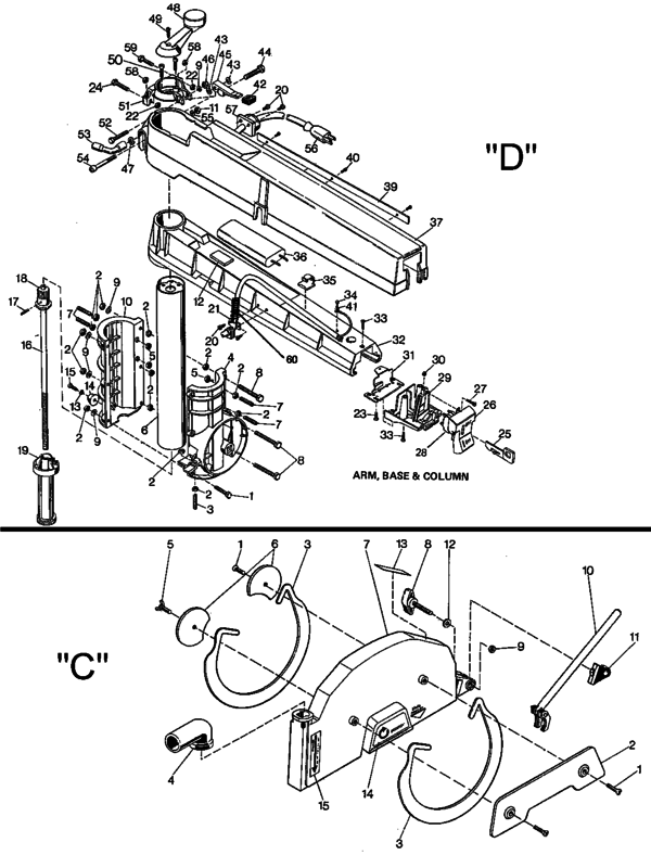 Dewalt 1712 10 Com Radial Arm Saw Type 1 Parts And Accessories At