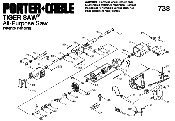 Porter Cable 738 Saw Parts Partswarehouserhpartswarehouse: Tiger Saw Wiring Diagram At Elf-jo.com