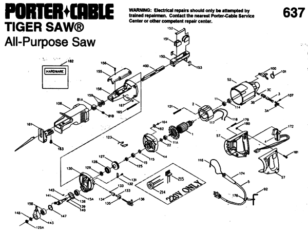 tiger saw wiring diagram hitachi table saw wiring diagram porter cable 9637 saw parts| partswarehouse #7