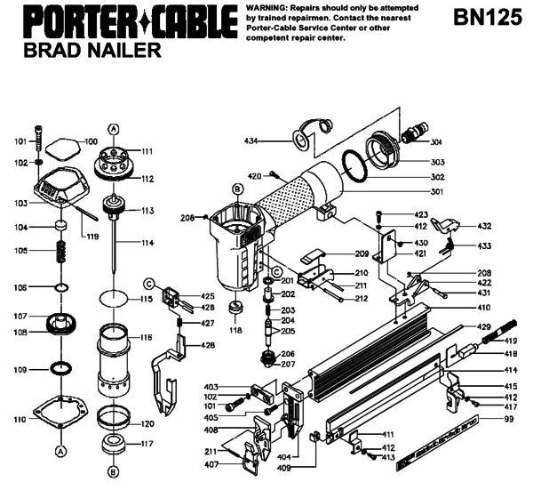 Porter Cable Bn125 Nailers Parts Partswarehouse
