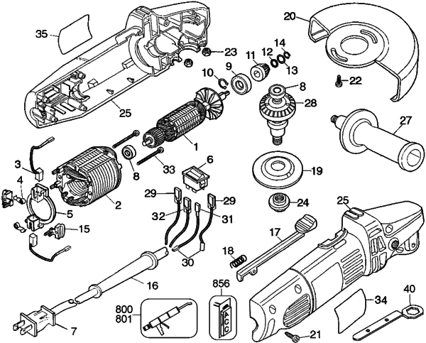 Dewalt Dw400 4 12 Angle Grinder Type 1 Parts And Accessories At