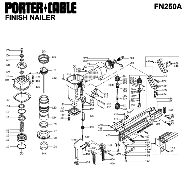 Porter Cable FN250A Nailers Parts  PartsWarehouse on