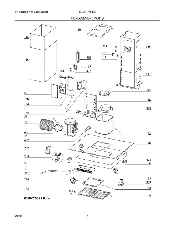 Electrolux E36pc75gss Range Hood Parts And Accessories At Partswarehouse