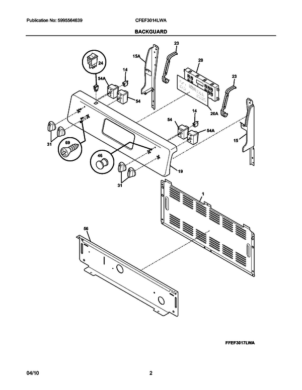 Frigidaire Cfef3014lwa Electric Range Parts And
