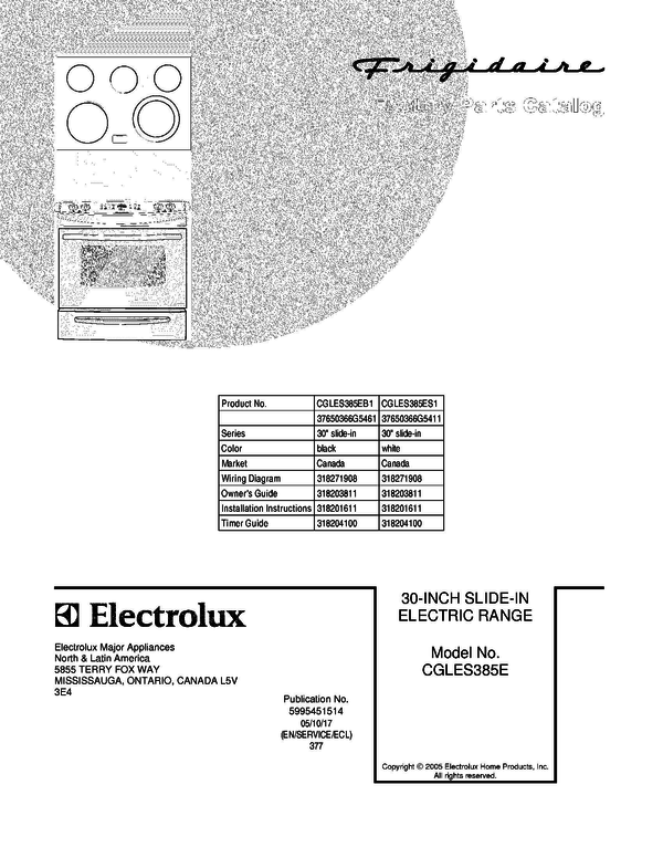 Frigidaire CGLES385EB1 Slide-In Electric Range Parts and Accessories ...