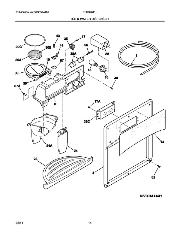 frigidaire ffhs2611lb0 refrigerator parts and accessories at partswarehouse