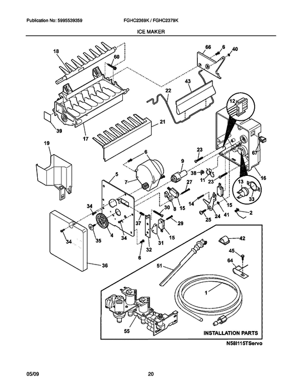 frigidaire fghc2369ke1 refrigerator parts and accessories at partswarehouse