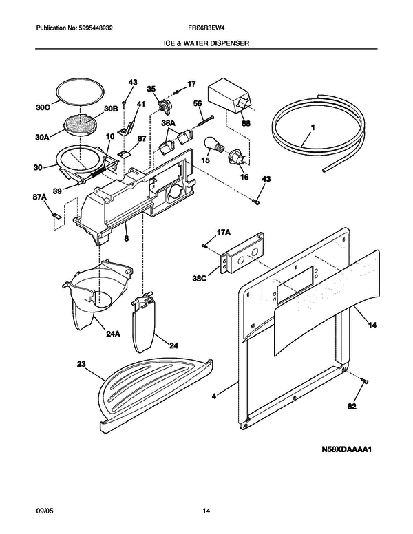 Frigidaire Frs6r3ew4 Side By Side Refrigerator Parts And Accessories