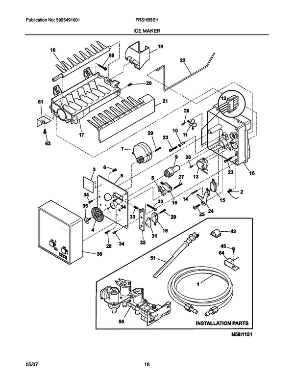 Frigidaire FRSHB5EHPW1 Side-by-Side Refrigerator Parts and ... on