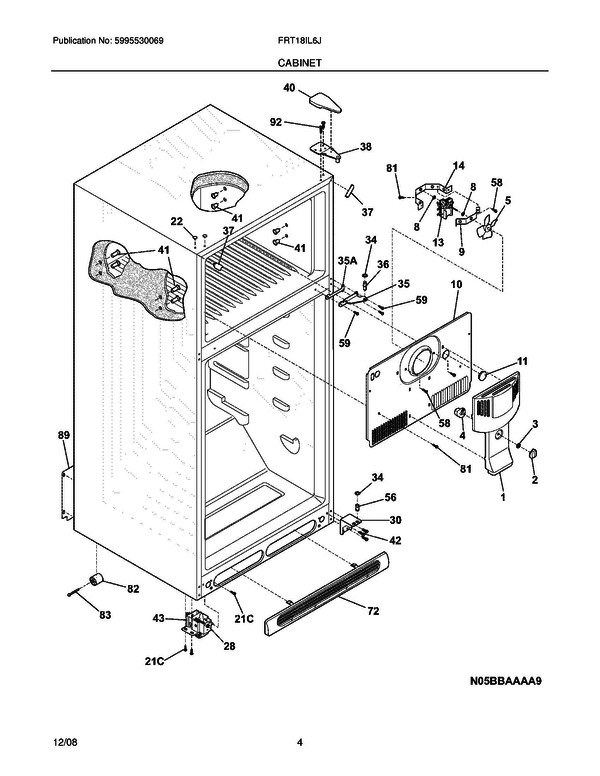 Frigidaire Frt18il6jw3 Refrigerator Parts And Accessories At