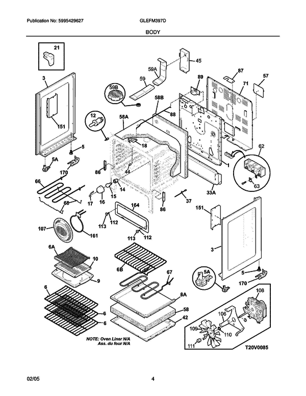Glefm397dsb Electric Range Wiring Diagram Parts Diagram