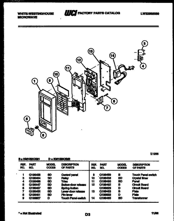 White-Westinghouse KM159KXM2 (V4) Microwave Parts and Accessories at on