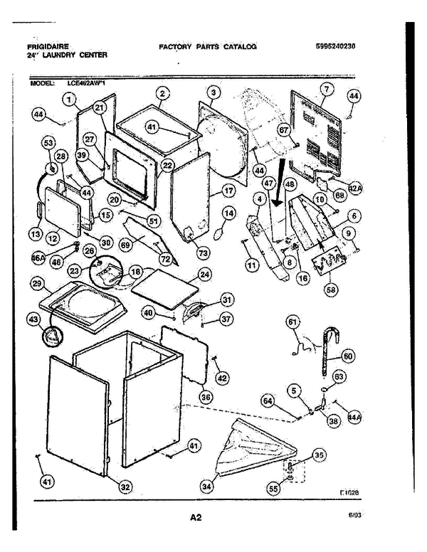 frigidaire stackable washer dryer parts diagram