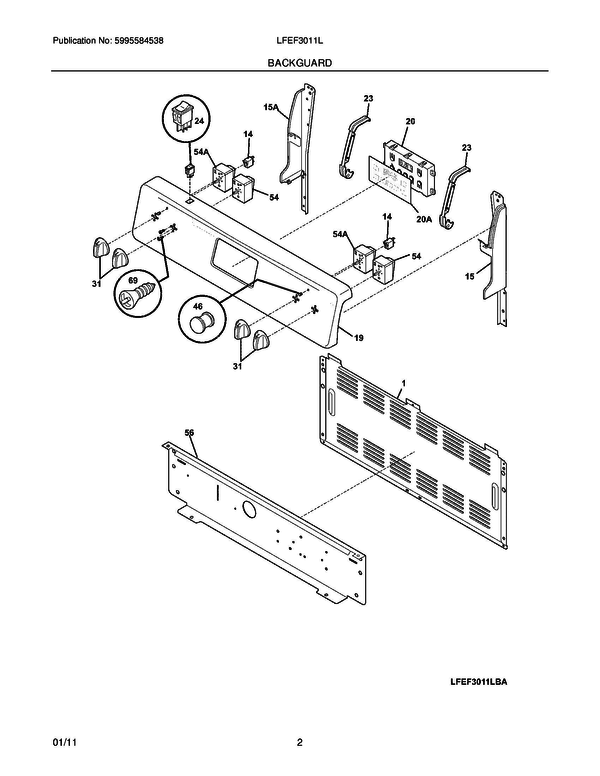 Frigidaire Lfef3011lbd Electric Range Parts And