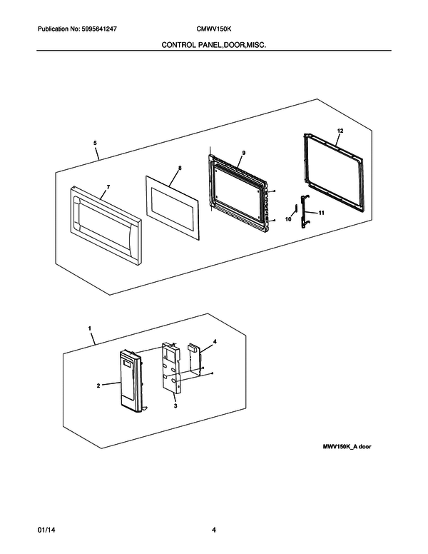frigidaire mwv150kwa microwave parts and accessories at