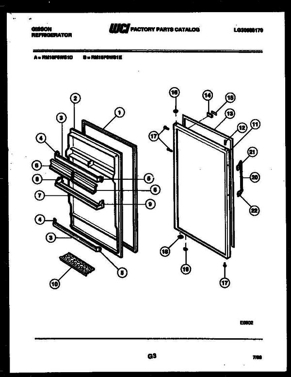 Gibson RM18F6WS1E Refrigerator (LG30588170) Parts and