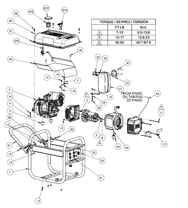homelite hg3510 series electric generator parts and accessories