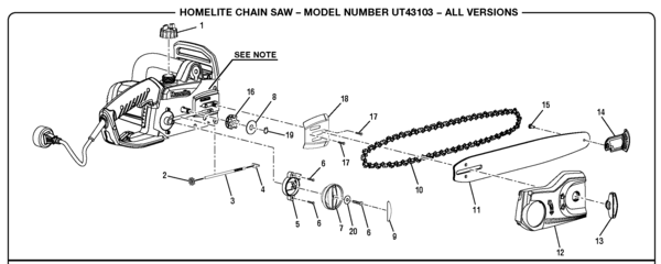 Homelite ut43103 electric chain saw parts and accessories homelite ut43103 greentooth