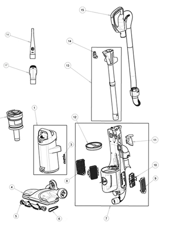 Hoover UH73100 Upright REACT Upright Parts and Accessories