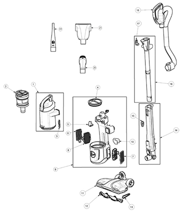 Hoover UH73301 REACT QuickLift Upright Parts and Accessories