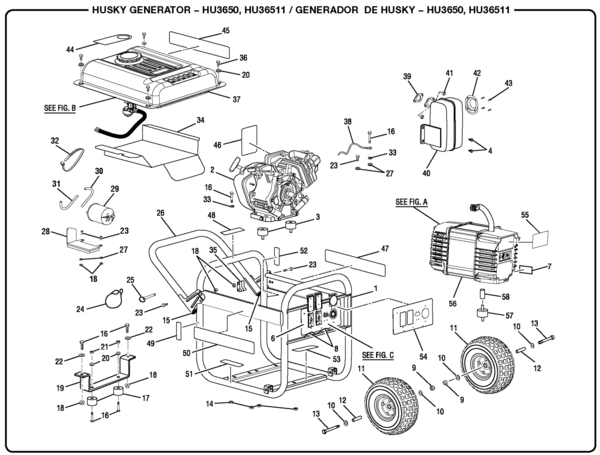 husky hu3650 3 650 watt generator parts and accessories