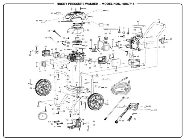 husky hu80715 pressure washer parts and accessories