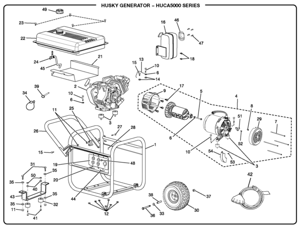 HUCA5000 husky huca5000 series 5,000 watt portable generator parts and husky 5000 watt generator wiring diagram at readyjetset.co