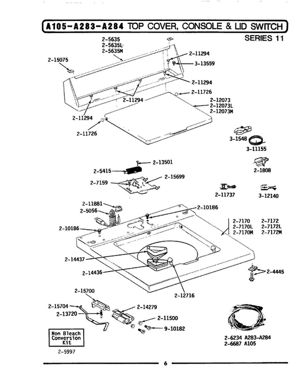 LA105 7 maytag la105 top loading washer parts and accessories at Light Switch Wiring Diagram at fashall.co