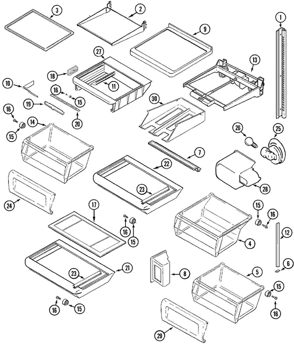Maytag Msd2456deb Side By Side Refrigerator Parts And Accessories At