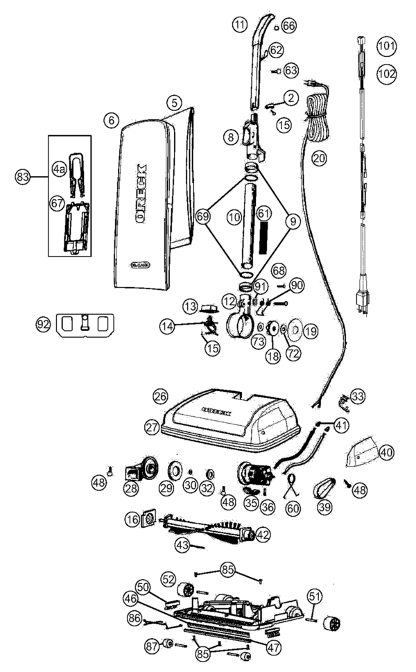 oreck handle wiring diagram for oreck touch wiring diagram oreck u2250rs xl classic parts and accessories- partswarehouse #3