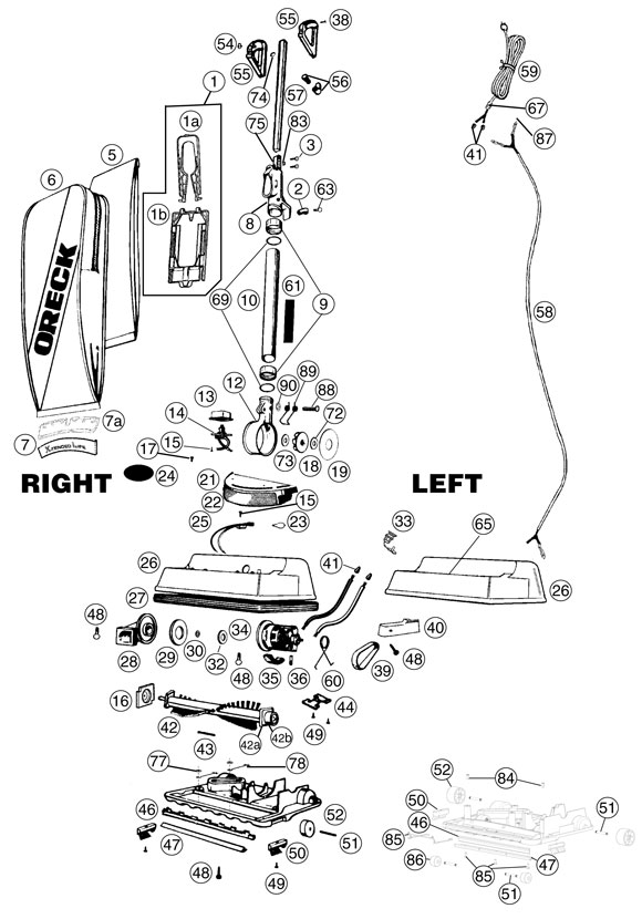 [SCHEMATICS_48IS]  Oreck U4200H2 Vacuum Parts | Oreck Handle Wiring Diagram For |  | Parts Warehouse
